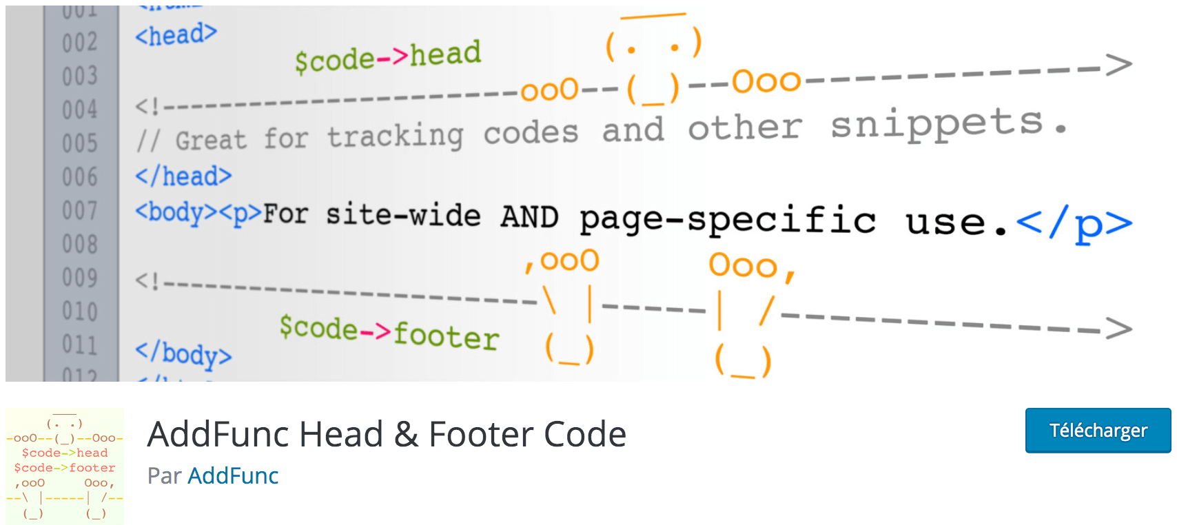 AddFunc Head & Footer Code meilleur plugin gratuit pour intégrer le pixel Facebook, Google Analytics ou Fontawsome dans WordPress