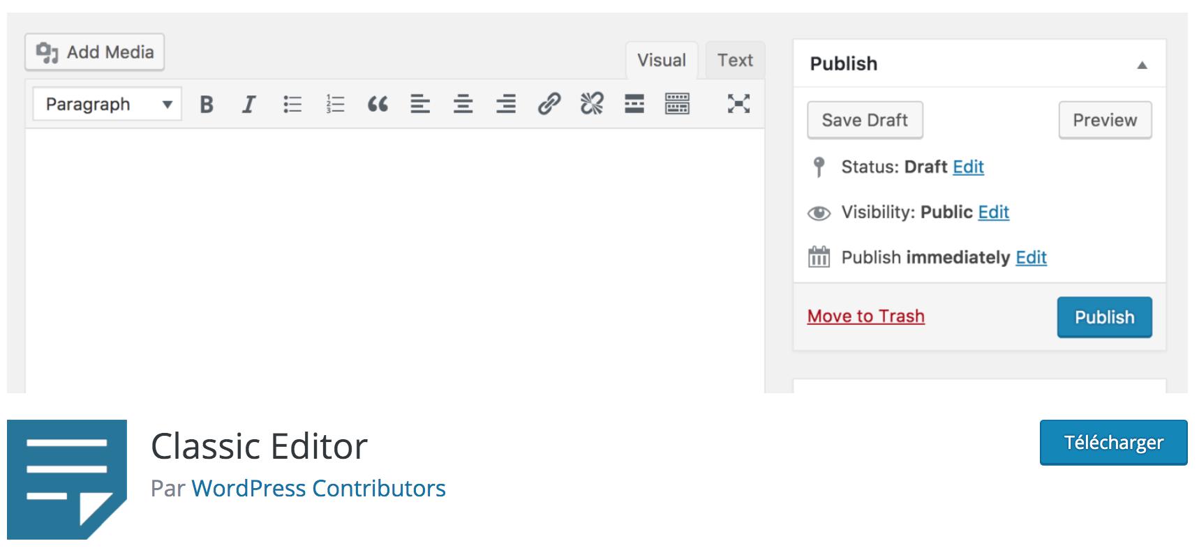 Avis sur Classic Editor plugin WP gratuit indispensable pour revenir à l'ancienne version de l'éditeur WordPress et désactiver Gutenberg