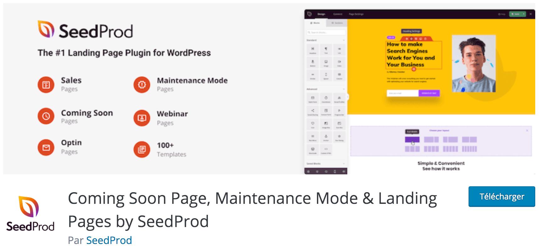Notre avis sur Coming Soon Page, Maintenance Mode & Landing Pages by SeedProd meilleur plugin gratuit pour mettre votre WordPress en mode maintenance ou indiquer qu'il est en construction et arrive bientôt