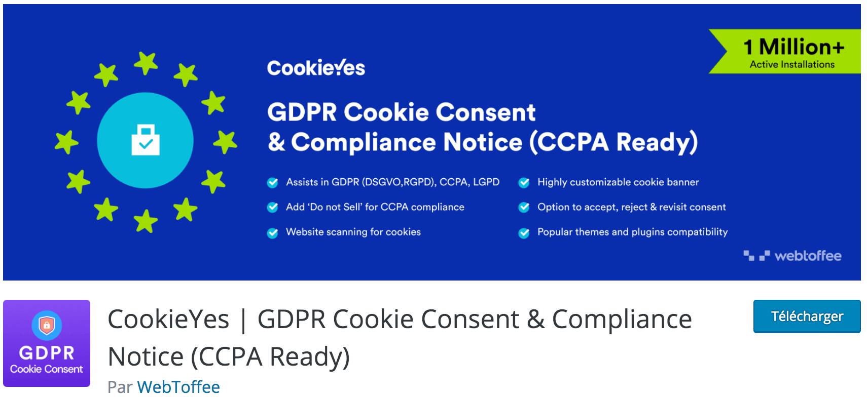 Avis sur CookieYes | GDPR Cookie Consent & Compliance Notice (CCPA Ready) plugin gratuit indispensable pour rendre WordPress compatible RGPD et faire accepter les cookies aux visiteurs