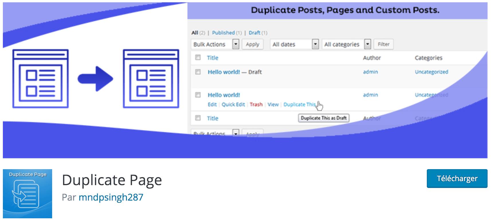Notre avis sur Duplicate Page meilleur plugin WP gratuit pour créer des copies de vos articles, pages, etc.
