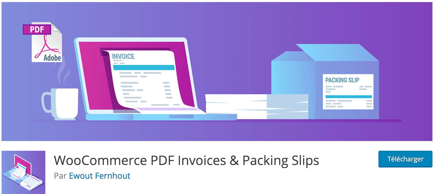 Avis sur WooCommerce PDF Invoices & Packing Slips plugin gratuit indispensable pour générer et envoyer des factures PDF à vos clients WooCommerce