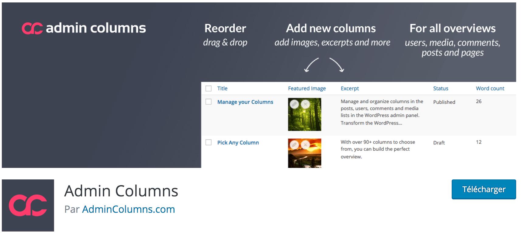 Avis sur Admin Columns plugin WP gratuit indispensable pour visualiser des aperçus d'informations plus complets dans votre tableau de bord
