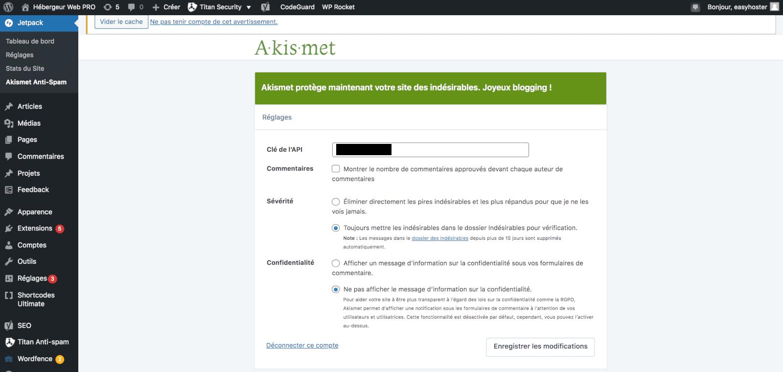 Akismet plugin indispensable pour empêcher les spams en commentaire
