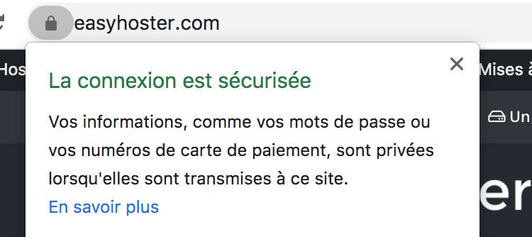Connexion sécurisée - HTTPS - Cadenas vert Google dans Chrome