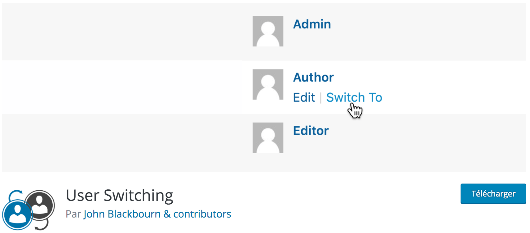 Notre avis sur User Switching meilleur plugin gratuit pour passer d'un compte utilisateur WordPress à un autre pour les site multi-utilisateurs