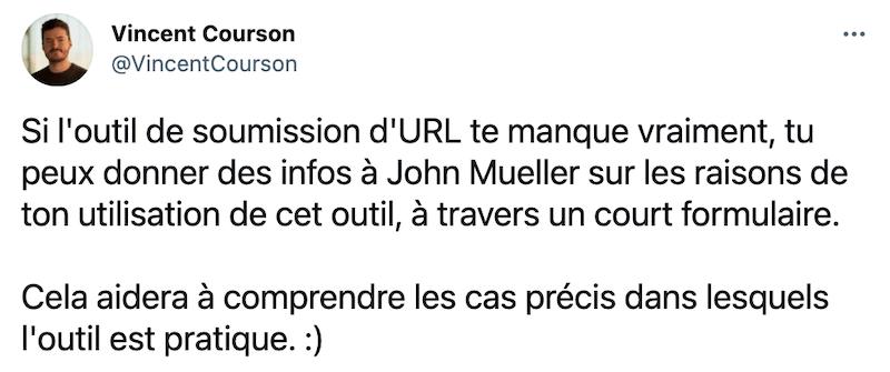 Tweet sur l'indexation Google de Vincent Courson