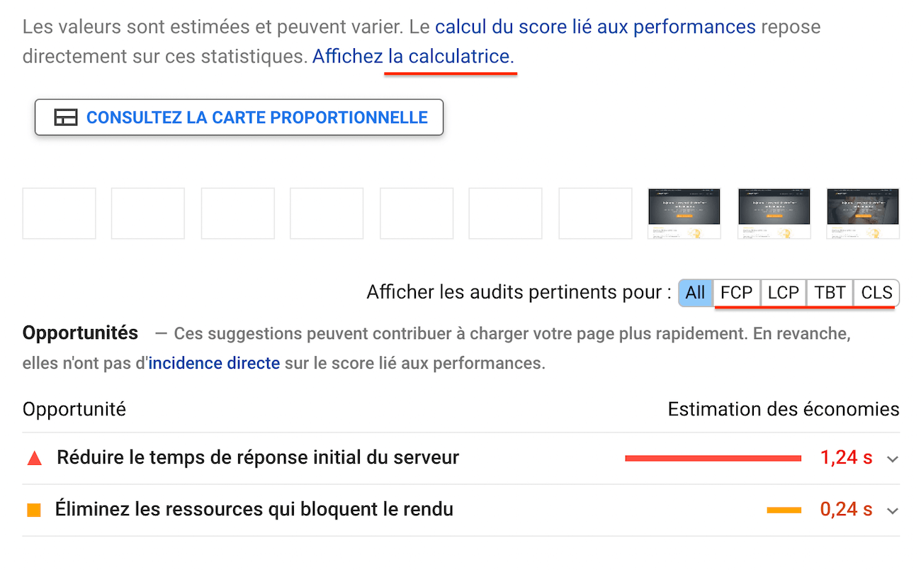 Le TTFB sur Google : PageSpeed Insights