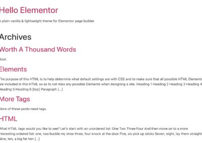 Avis sur Hello Elementor