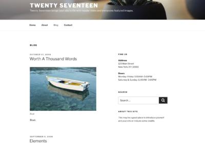 Avis sur le Thème Twenty Seventeen